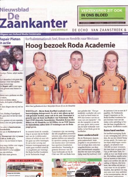 Marjolijn Kroon, Mick Snel en Jet Henriks op de voorpagina van de Zaankanter als nieuwe trainers bij de Roda Korfbal Academie
