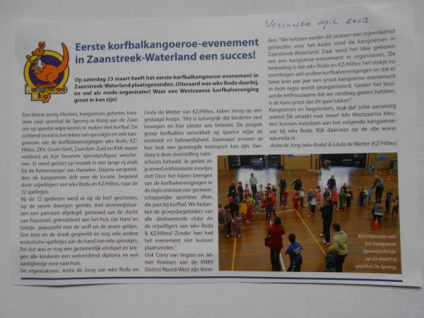 Een verslag uit maandblad De Wessaner over het eerste Kangoeroe Sprookjesfestijn in sporthal de Sprong.