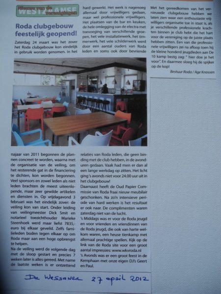 En zo is het geworden (uit maandblad De Wessaner)