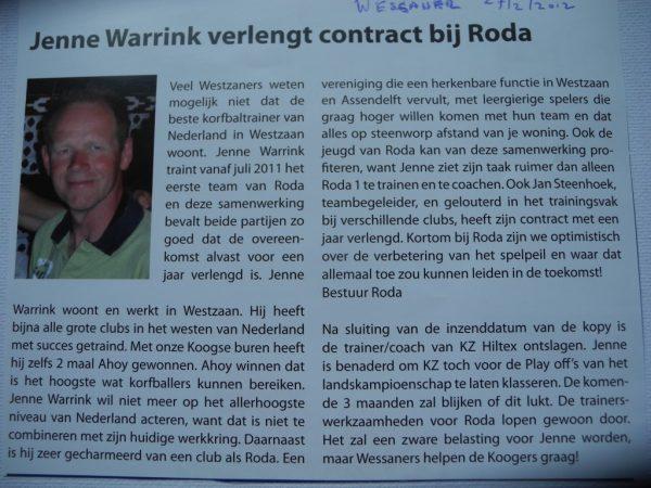 Maandblad De Wessaner: Jenne Warrink verlengt contract.